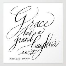 Marilynne Robinson on Grace (Calligraphy) Art Print