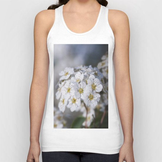 Bridal Wreath macro Unisex Tank Top