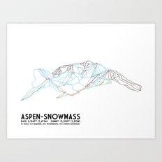 Aspen, CO - Snowmass - Minimalist Trail Map Art Print
