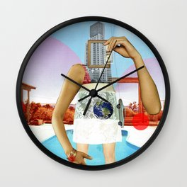 the crazy woman and the world of consumption Wall Clock