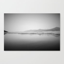 Lake Scene In Black And White Canvas Print