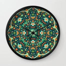 Folk Art Garden (Spring Hues on Dark Inky Blue) Wall Clock