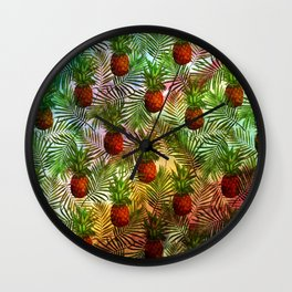 Pineapples - Tropical fruit watercolor illustration pattern Wall Clock