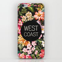west coast iPhone & iPod Skins featuring West Coast by Text Guy