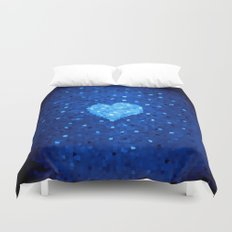 Winter Blue Crystallized Abstract Heart Duvet Cover