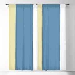 BEACH THEME TRIPLE THICK STRIPES - SAND YELLOW - GREY BLUE AND WHITE  Blackout Curtain