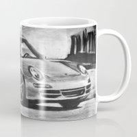 porsche Mugs featuring Porsche  by Marcela Caraballo
