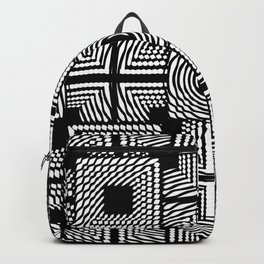 Black and white square hatches Backpack