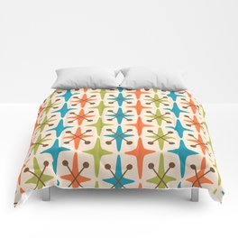 Mid Century Modern Abstract Star Pattern 441 Orange Brown Turquoise Chartreuse Comforters