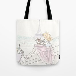 Eiffel Tower Pleated Cuddles with Yorkie Dog and Cat Tote Bag