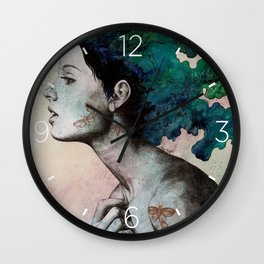 Moral Eclipse I | moth tattoo woman portrait Wall Clock