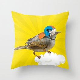 Little bird on little cloud Throw Pillow
