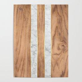 Wood Grain Stripes - White Marble #497 Poster