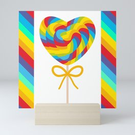 Valentine's Day Heart shaped candy lollipops with bow, colorful spiral candy cane with rainbow Mini Art Print