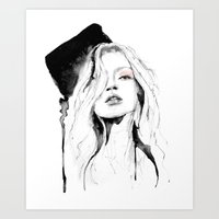 kate moss Art Prints featuring Kate Moss by Erin Marie Illustration