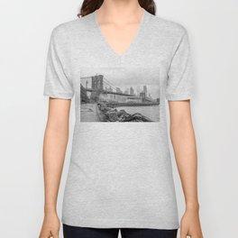 Brooklyn Bridge and Jane's Carousel Unisex V-Neck
