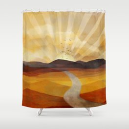 Desert in the Golden Sun Glow II Shower Curtain