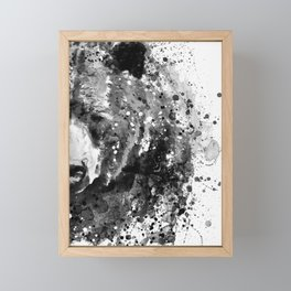 Black And White Half Faced Grizzly Bear Framed Mini Art Print