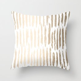 White Gold Sands Vertical Dash Throw Pillow