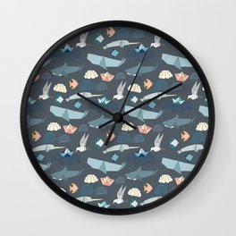 Marine Origami Animals Wall Clock