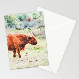 Highland cow watercolor painting #5 Stationery Cards
