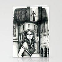 les miserables Stationery Cards featuring Les Miserables Portrait Series - Eponine by Flávia Marques