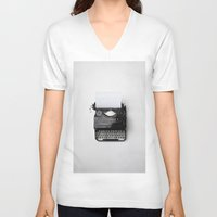 typewriter V-neck T-shirts featuring Typewriter by Diablevv