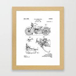 Harley Motorbike Patent - Harley Bike Art - Black And White Framed Art Print