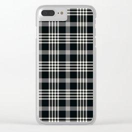 Black Plaid Clear iPhone Case