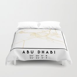 ABU DHABI UNITED ARAB EMIRATES CITY STREET MAP ART Duvet Cover