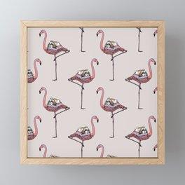 Flamingo and Shih Tzu Framed Mini Art Print