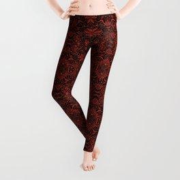 Greek Baroque, Bohemian Arabesque Pattern, Terracotta Leggings