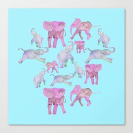 Pink and Lavender Elephants Canvas Print