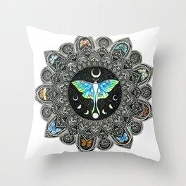Lunar Moth Mandala Throw Pillow