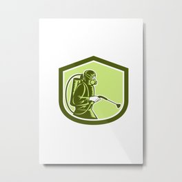 Pest Control Exterminator Spraying Shield Retro  Metal Print