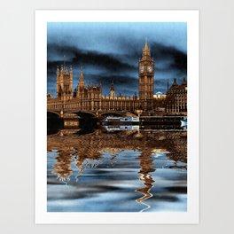 A wet day in London Art Print