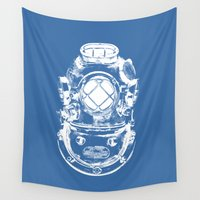 diver Wall Tapestries featuring Scuba diver by Sea And Navy