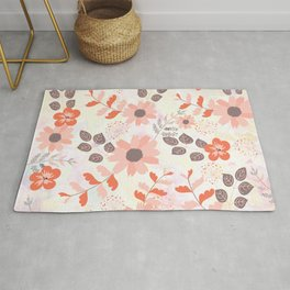 Pretty Pink and Orange Flowers Rug