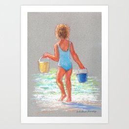 Beach Girl with Buckets Art Print