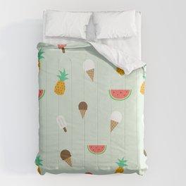 Summer Pattern cute ice creams, watermelon & pineapples Comforters