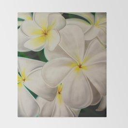 white plumerias Throw Blanket