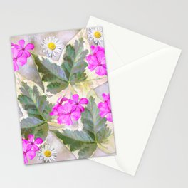 Leaves and flowers, digital painting Stationery Cards
