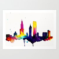 chicago map Art Prints featuring Chicago  by Talula Christian