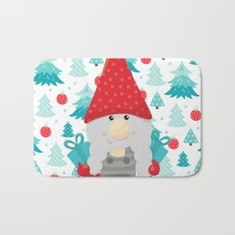 Holiday Gnome with gifts Bath Mat
