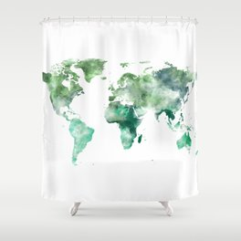 World Map Emerald Green Earth Shower Curtain