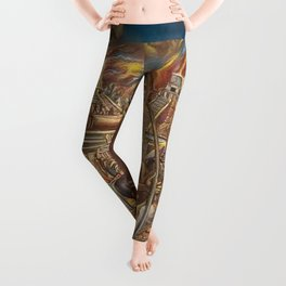 The Fall of Tenochtitlan, the capital of the Aztec Empire landscape by A. Cantu Leggings
