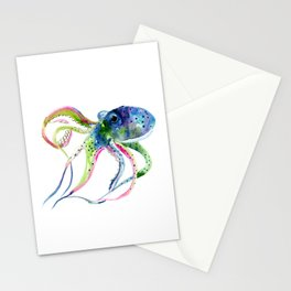 Blue Rainbow Octopus decor octopius lover gift Stationery Cards