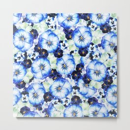 Beautiful hand painted blue purple watercolor pansies floral Metal Print