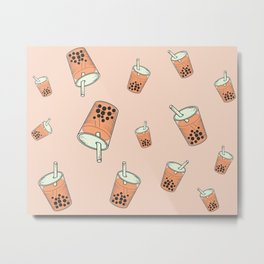 Milk Bubble Tea Boba Metal Print