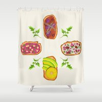 bread Shower Curtains featuring Vibrant Bread by chiclemonade